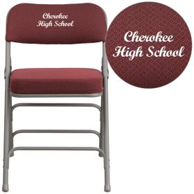 Embroidered HERCULES Series Premium Curved Triple Braced & Double Hinged Burgundy Fabric Upholstered Metal Folding Chair [AW-MC320AF-BG-EMB-GG]