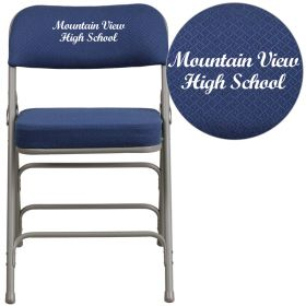 Embroidered HERCULES Series Premium Curved Triple Braced & Double Hinged Navy Fabric Upholstered Metal Folding Chair [AW-MC320AF-NVY-EMB-GG]