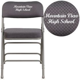 Embroidered HERCULES Series Premium Curved Triple Braced & Quad Hinged Gray Fabric Upholstered Metal Folding Chair [AW-MC320AF-GRY-EMB-GG]