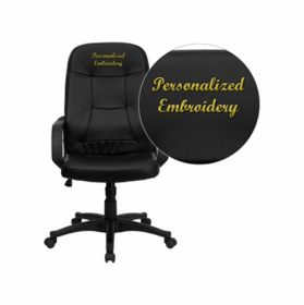 Embroidered High Back Black Glove Vinyl Executive Swivel Office Chair [H8021-EMB-GG]