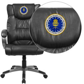 Embroidered High Back Black Leather Executive Swivel Office Chair [BT-9088-BK-EMB-GG]
