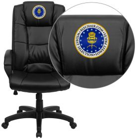 Embroidered High Back Black Leather Executive Swivel Office Chair [GO-5301B-BK-LEA-EMB-GG]