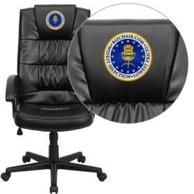 Embroidered High Back Black Leather Executive Swivel Office Chair [GO-7102-EMB-GG]