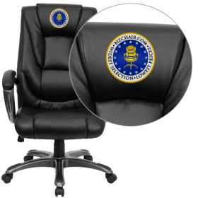 Embroidered High Back Black Leather Executive Swivel Office Chair [GO-7194B-BK-EMB-GG]