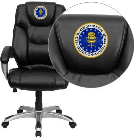 Embroidered High Back Black Leather Executive Swivel Office Chair [GO-931H-BK-EMB-GG]