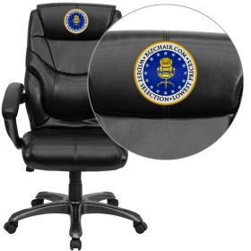 Embroidered High Back Black Leather Overstuffed Executive Swivel Office Chair [GO-724H-BK-LEA-EMB-GG]