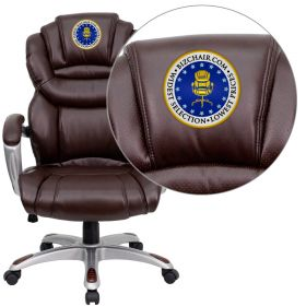Embroidered High Back Brown Leather Executive Swivel Office Chair with Leather Padded Loop Arms [GO-901-BN-EMB-GG]