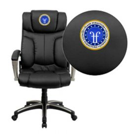 Embroidered High Back Folding Black Leather Executive Swivel Office Chair [BT-9875H-EMB-GG]