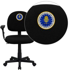 Embroidered Low Back Ergonomic Black Fabric Swivel Task Chair with Height Adjustable Arms [BT-660-1-BK-EMB-GG]