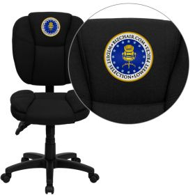 Embroidered Mid-Back Black Fabric Multi-Functional Ergonomic Swivel Task Chair [GO-930F-BK-EMB-GG]