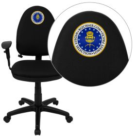 Embroidered Mid-Back Black Fabric Multi-Functional Swivel Task Chair with Adjustable Lumbar Support and Height Adjustable Arms [WL-A654MG-BK-A-EMB-GG]