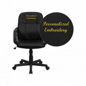 Embroidered Mid-Back Black Glove Vinyl Executive Swivel Office Chair [H8020-EMB-GG]