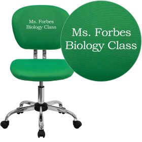 Embroidered Mid-Back Bright Green Mesh Swivel Task Chair with Chrome Base [H-2376-F-BRGRN-EMB-GG]