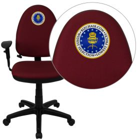 Embroidered Mid-Back Burgundy Fabric Multi-Functional Swivel Task Chair with Adjustable Lumbar Support and Height Adjustable Arms [WL-A654MG-BY-A-EMB-GG]