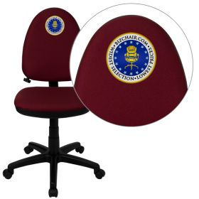 Embroidered Mid-Back Burgundy Fabric Multi-Functional Swivel Task Chair with Adjustable Lumbar Support [WL-A654MG-BY-EMB-GG]