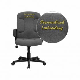 Embroidered Mid-Back Gray Fabric Executive Swivel Office Chair with Nylon Arms [GO-ST-6-GY-EMB-GG]