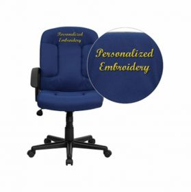 Embroidered Mid-Back Navy Fabric Executive Swivel Office Chair with Nylon Arms [GO-ST-6-NVY-EMB-GG]