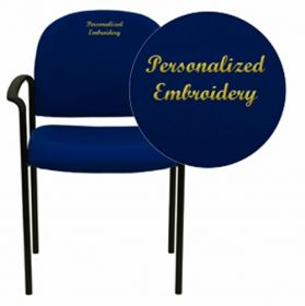 Embroidered Navy Fabric Comfortable Stackable Steel Side Chair with Arms [BT-516-1-NVY-EMB-GG]