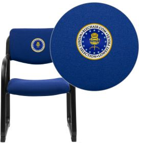 Embroidered Navy Fabric Executive Side Chair with Sled Base [BT-508-NVY-EMB-GG]