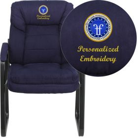 Embroidered Navy Microfiber Executive Side Chair with Sled Base [GO-1156-NVY-EMB-GG]
