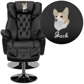 Embroidered Transitional Black Leather Recliner and Ottoman with Chrome Base [BT-7807-TRAD-EMB-GG]