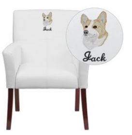 Embroidered White Leather Executive Side Chair or Reception Chair with Mahogany Legs [BT-353-WH-EMB-GG]