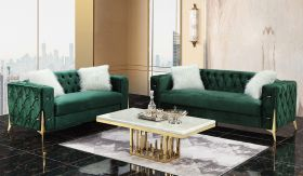 Emerald Traditional Living Room Set in Green