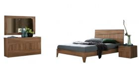 ESF Storm Modern Bedroom Set in Walnut