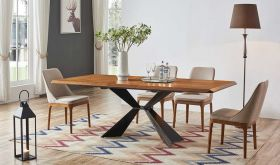 ESF 1712 Dining Table with 1711 Dining Chair Dining Set in Walnut & Beige