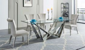 ESF 2061 Dining Table with 185 Dining Chair Dining Set in Light Gray & Silver