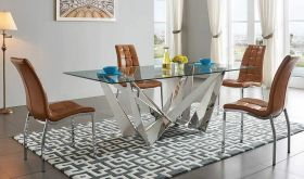 ESF 2061 Dining Table with 365 Dining Chair Dining Set in Brown & Silver