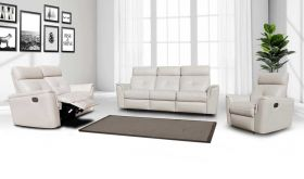 ESF 8501 Modern Leather Living Room Set in White