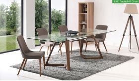 ESF 8811 Dining Table with 941 Chair Dining Set in Brown