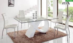 ESF 989 Dining Table with 365 Chair Dining Set in White