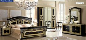 ESF Aida Italian Bedroom Set in Black & Gold