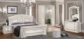 ESF Aida Italian Bedroom Set in White & Silver