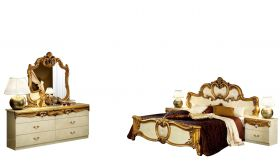 ESF Barocco Bedroom Set in Ivory & Gold Lacquer
