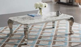 ESF CF110 Marble Coffee Table in White & Silver