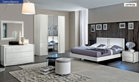 ESF Dama Bianca Bedroom Set in White High Gloss