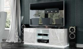 ESF Kiu TV Base with Lights in White High Gloss