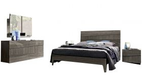 ESF Tekno Contemporary Bedroom Set in Silver Birch