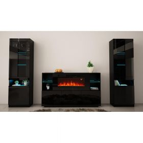 Estes Modern Electric Fireplace Wall Unit Entertainment Center