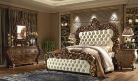 Estonia Traditional Bedroom Set in Golden Walnut & Beige