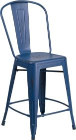 "24"" High Distressed Antique Blue Metal Indoor-Outdoor Counter Height Stool with Back [ET-3534-24-AB-GG]"