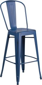 "30"" High Distressed Antique Blue Metal Indoor-Outdoor Barstool with Back [ET-3534-30-AB-GG]"