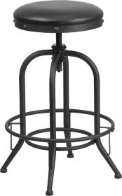 30'' Barstool with Swivel Lift Black Leather Seat [ET-BR542-230-GG]