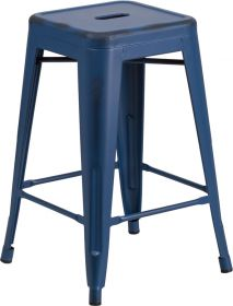 "24"" High Backless Distressed Antique Blue Metal Indoor-Outdoor Counter Height Stool [ET-BT3503-24-AB-GG]"