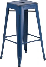 "30"" High Backless Distressed Antique Blue Metal Indoor-Outdoor Barstool [ET-BT3503-30-AB-GG]"