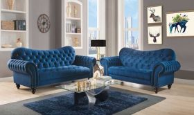 Eureka Traditional Living Room Set in Navy