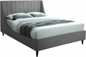 Lompoc Contemporary Velvet Bed in Grey